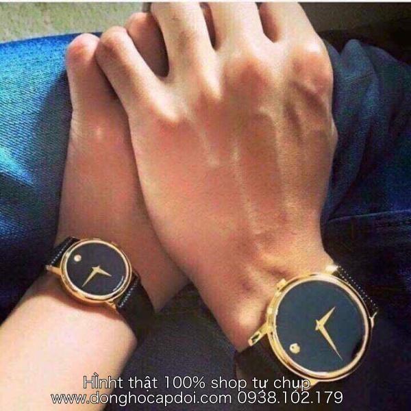 Đồng hồ đôi Movado Dây da
